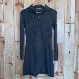 Athleta Gray Ribbed Long Sleeve Sweater Dress S